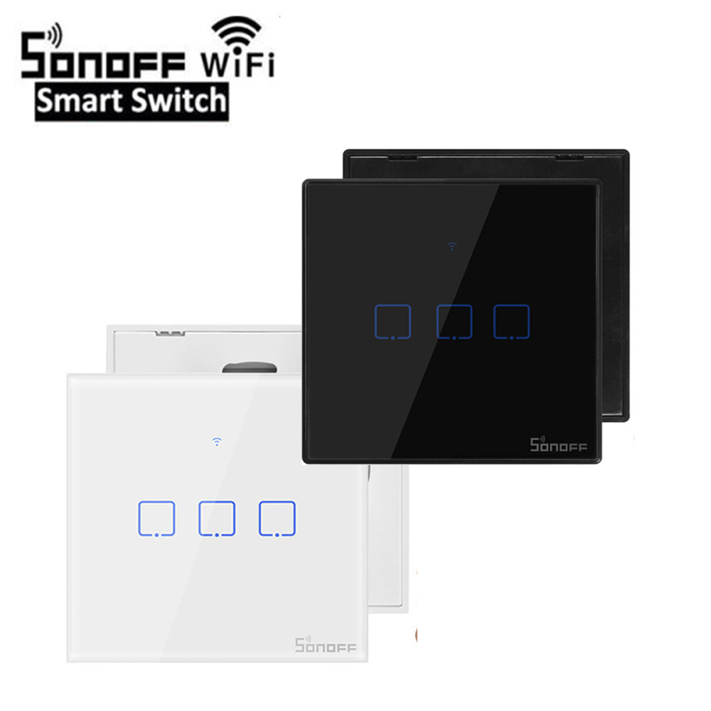 Sonoff TX T2/T3 EU/UK Smart WiFi RF 433/ APP / Touch Control Wall Light Switch 1 /2 /3 Gang 86 Type Wall Touch Switch Smart Home
