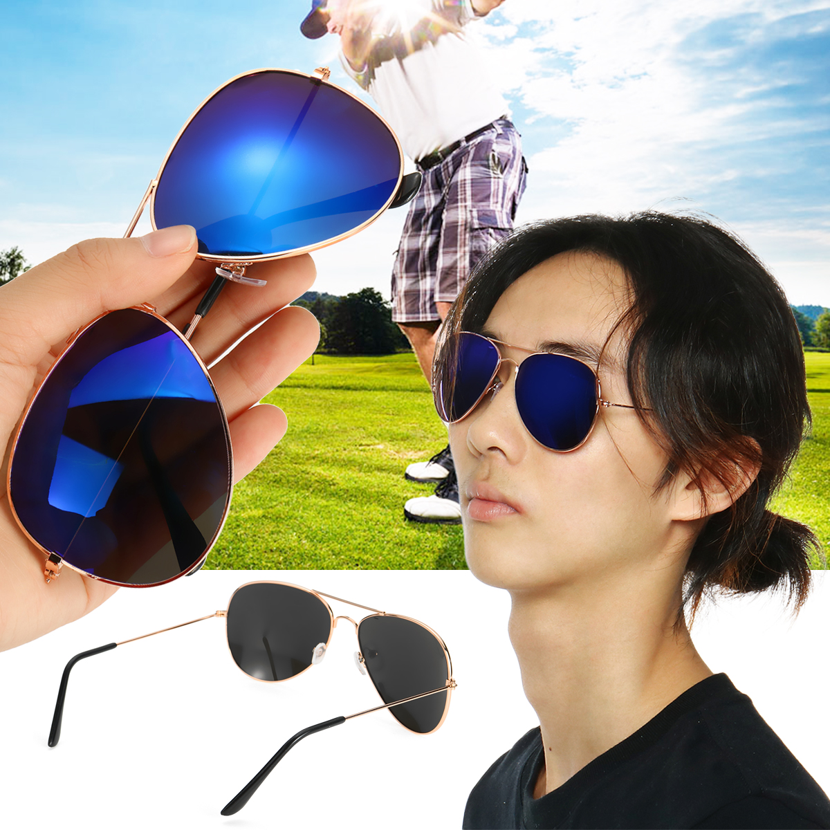 Men Retro Sunglasses Fishing Golf Ball Finder Glasses Eye Protection Golf Accessories Blue Lenses Sport Glasse