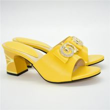 Nice Yellow Party Pumps African Women's High Heel Sandal Shoes 86-10 Heel Height 7.5CM(China)
