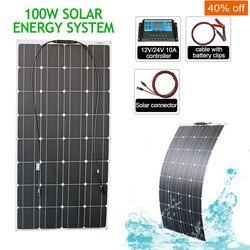 12v 100w 200w elastyczny system paneli słonecznych zestawy z kontroler ładowania dla Caravan Motor Home Boat