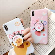 JAMULAR Cute Cat Claw Grip Stand Phone Case For iPhone 7 11 Pro X XS MAX XR 8 6 6s Plus Shockproof Soft IMD Back Cover Coque Bag