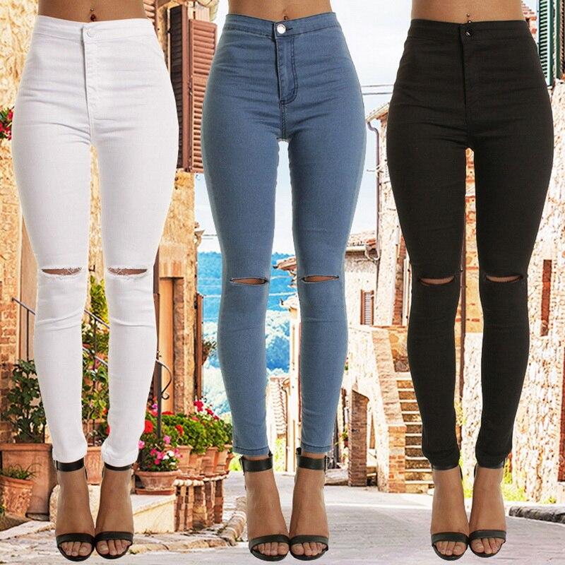2020 Spring Women High Waist Jeans Sexy Skinny Fashion Jeans Women Hole Vintage Girls Slim Ripped Denim Pencil Pants Trousers