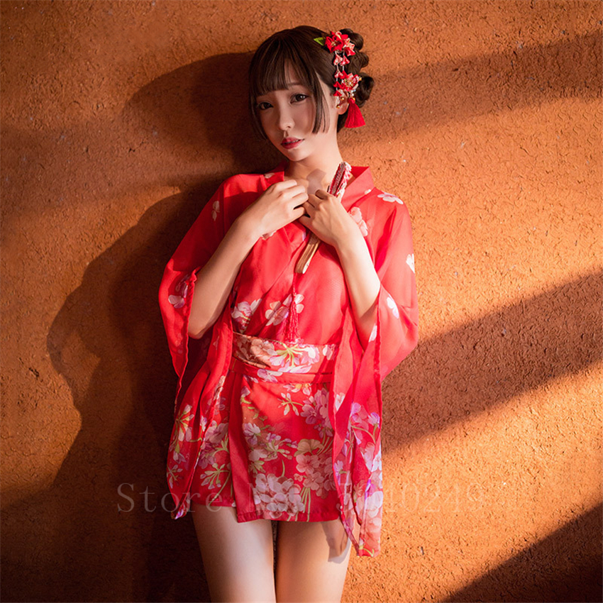 Sexy Woman Kimono Japanese Style Floral Printed Yukata V-Neck Transparent Silk Pajamas Sleepwear Lady Retro Lingerie Nightgown