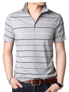 COODRONY T-Shirt Men Clothing Short-Sleeve Turn-Down-Collar Striped Summer Spring Casual