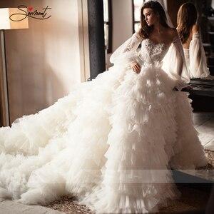 Image 5 - BAZIIINGAAA יוקרה חתונה שמלה סקסי משיי אורגנזה עבה לפרוע כלה חתונת שרוולים חולצת סטרפלס תמיכה תפור