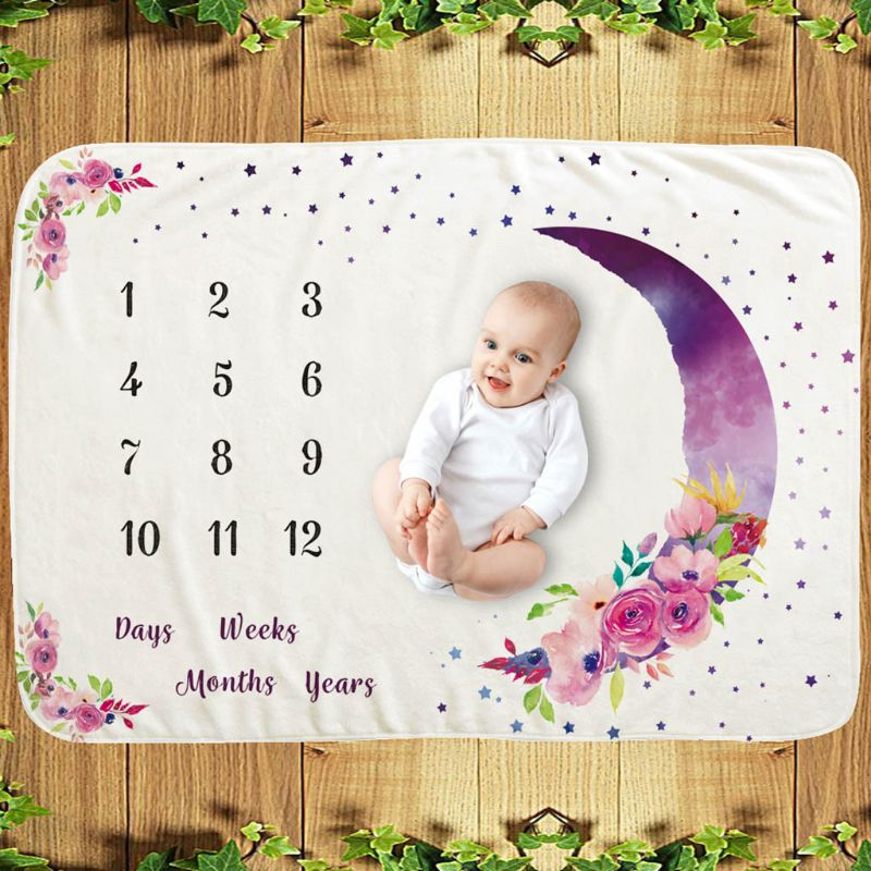 Baby Monthly Record Growth Milestone Blanket Newborn Photography Props Children Photo Creative Moon Flower Background Cloth Infa