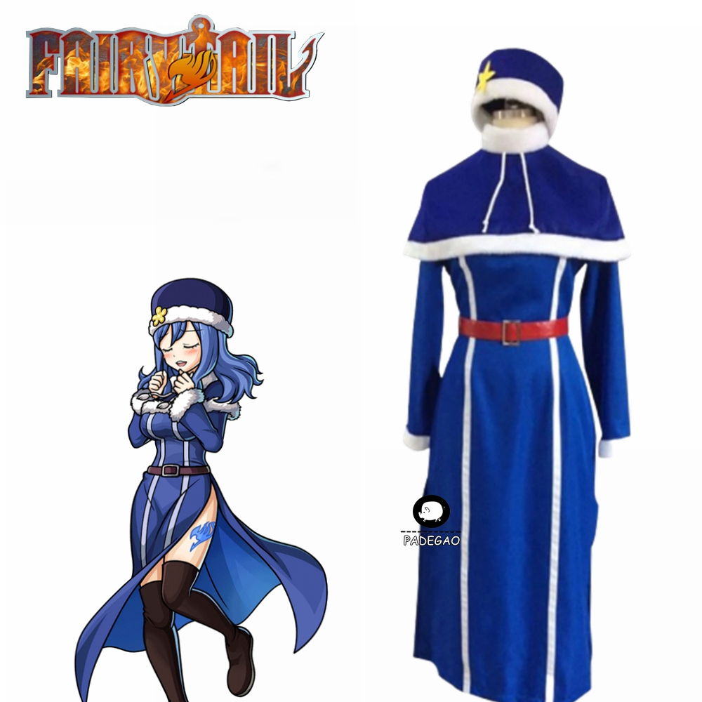 Fairy Tail Juvia Lockser Cosplay Costume Woman Halloween Blue Outfit Dress