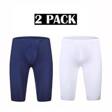 2 Piece Ice Silk Sleep Bottoms Mens Long Boxer Shorts Sexy Bugle Pouch Pajama Summer Ultra-thin Slip Homme Underwear Sleepwear