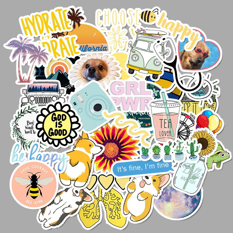 50PCS Cartoon Summer VSCO Girl Stickers Pack For Kids Vinyl Travel Sticker For Car Laptop Motorcycle Fridge Hydro Flask Stickers