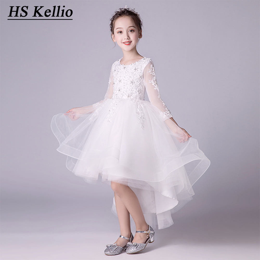 Kids Communion Party   Dress   Ball Gown 3/4 Sleeves   Flower     Girls     Dresses   High Low Pageant