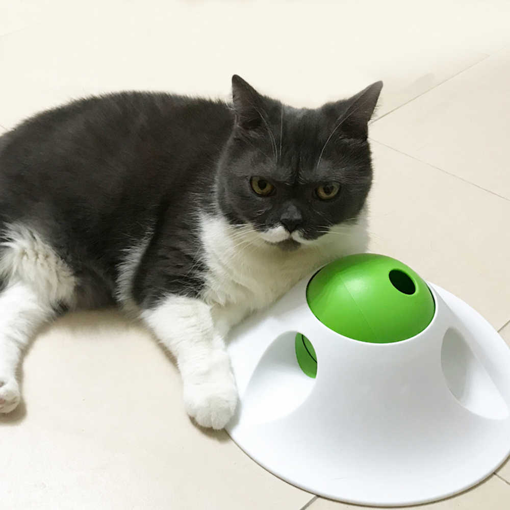 Flying saucer forma interativa dispensador de alimentos para animais de estimação brinquedo para gatos grandes cães alimentador de animais de estimação brinquedo produtos para treinamento