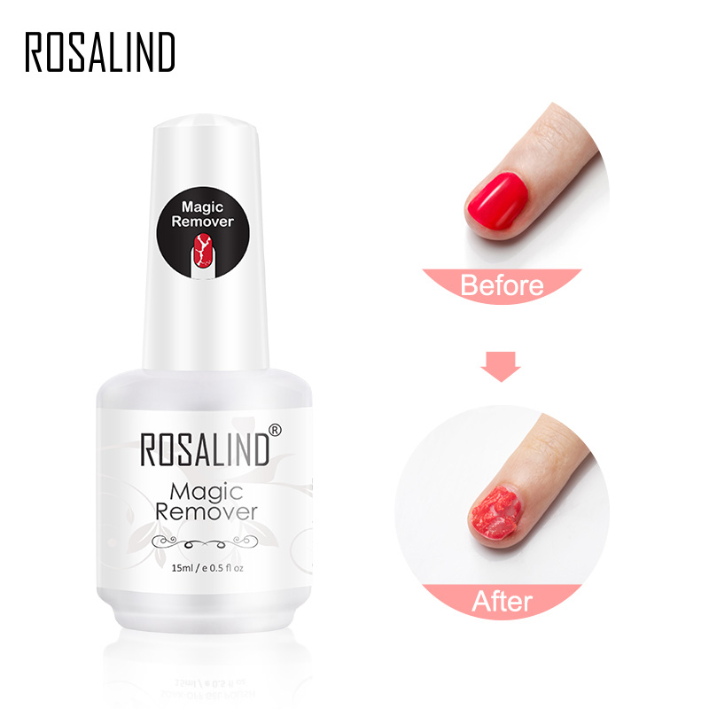 Rosalin esmalte de unha em gel mágico, para manicure, limpeza rápida, remoção de esmalte em gel uv de 2 3 minutos base superior casaco|Removedor de esmalte|   -