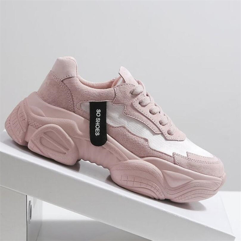 Women's Chunky Sneakers Fashion Women Platform Shoes Lace Up Pink Vulcanize Shoes Womens Female Trainers Dad Shoes Walking Shoes