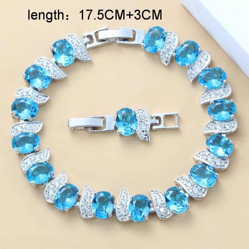 Sky Blue Zircon หมั้นอุปกรณ์เสริม 925-แสตมป์สีเงิน 11-สีขนาดใหญ่ชุดเครื่องประดับสำหรับสร้อยข้อมือผู้หญิง 18 + 3 ซม.