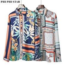 Phi Star Brand Hot Sale European station new womens print Slim long-sleeved wild lapel shirt blouse