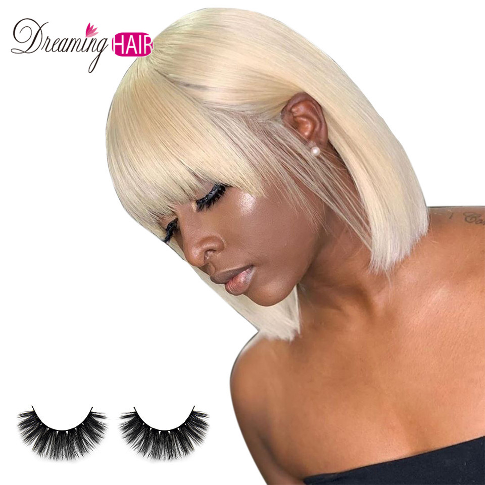 613 Color Short Bob Blonde Lace Front Human Hair Wigs With Bangs 13X4 Brazilian Straight Bob Wigs Pre Plucked With Baby Hair