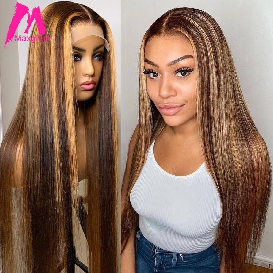 Парик с прямыми волосами 13х1, человеческие волосы, Омбре, коричневый медовый блонд, бразильские волосы Remy, Короткие Длинные парики для женщи...