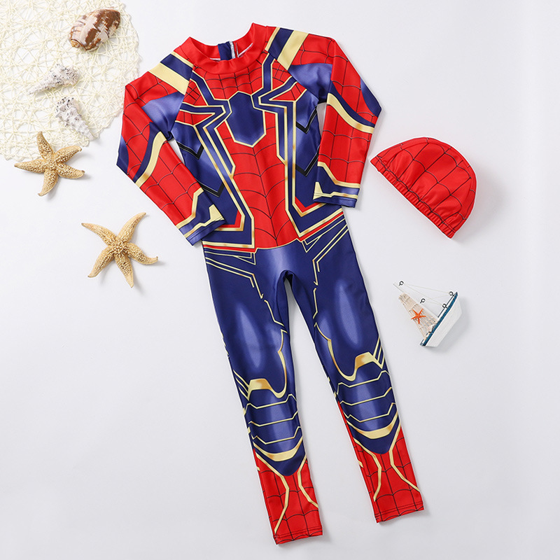 Boy Bathing Suit Spider-Man One-piece Swimming Suit Big Virgin Boy One-piece Quick-Dry Coat CHILDREN'S Long-sleeve Swimsuit