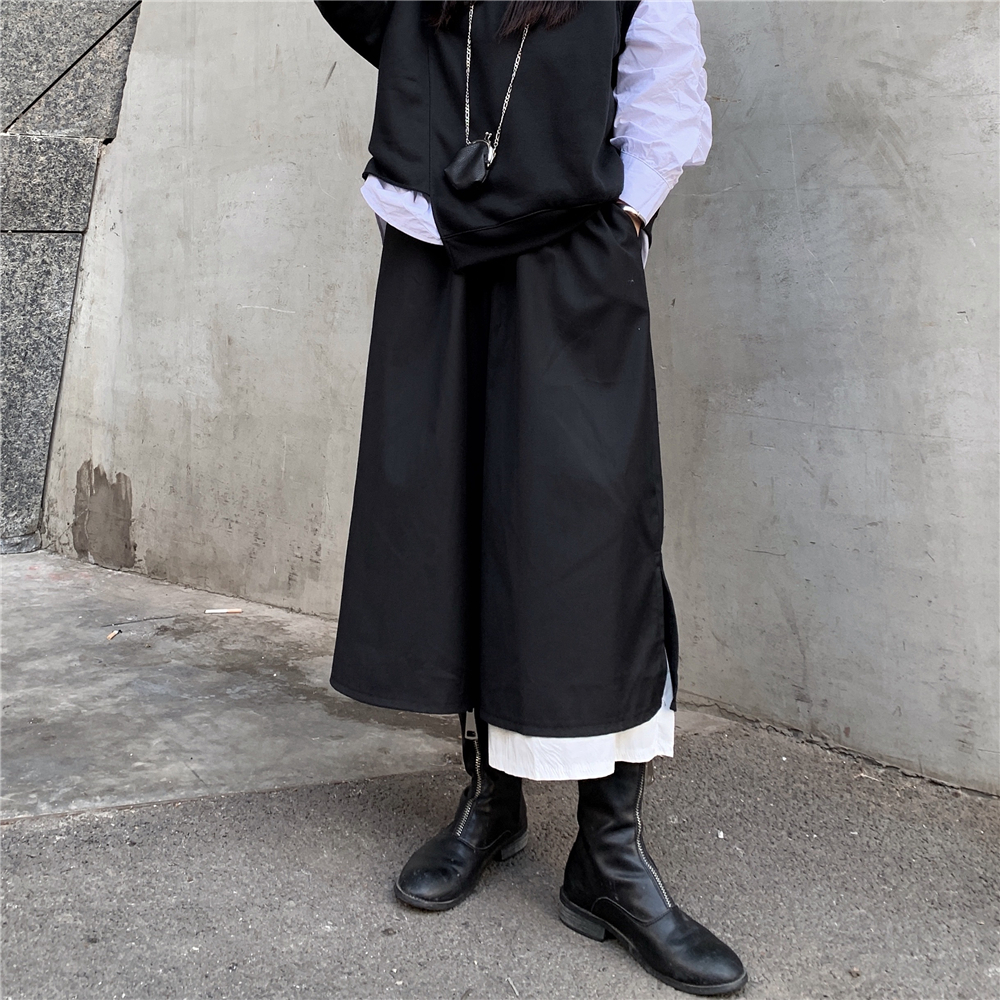New Fashion Style Elastic Waist Black Long Wide Legs Pants Fashion Nova Clothing