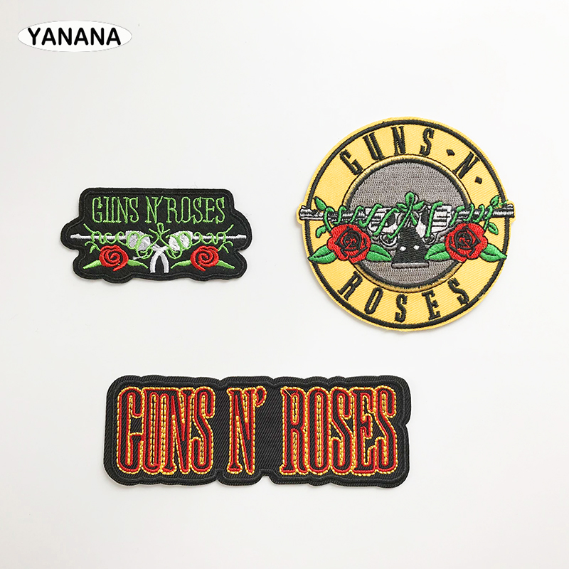 Rock Band Gun Patch Badges Embroidered Applique Sewing Iron On Badge Clothes Garment Apparel Rose Accessories
