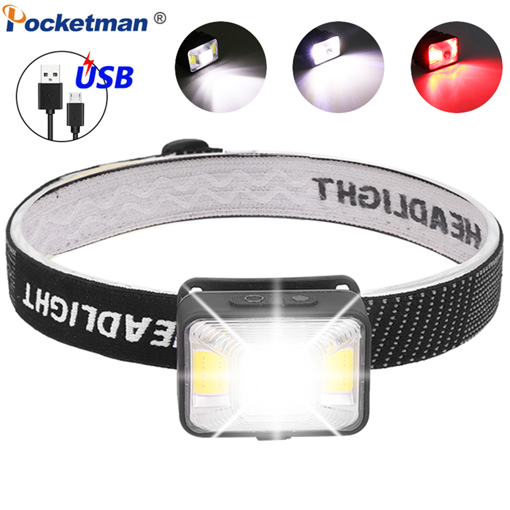 Headlamp USB Rechargeable Headlight 5000LM LED Head Light with White Red Light Warning Head Lamp Waterproof Head Front Light New
