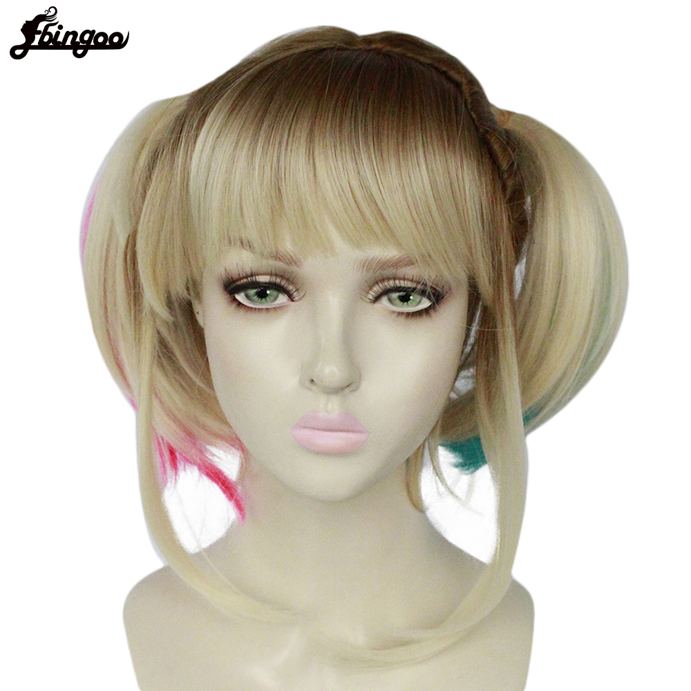 Ebingoo High Temperature Fiber Short Blonde Ombre Synthetic Cosplay Wig With Double Pigtails And Bangs For Women Halloween Party