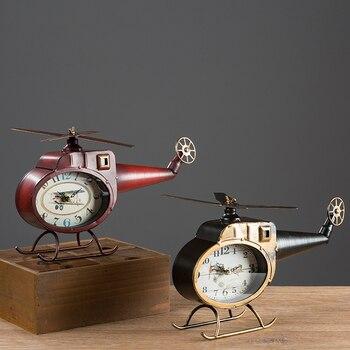 Retro Helicopter Model Clock Table Clock Creative Living Room Wine Cabinet Bedroom Desk Clock Desktop Decoration WF816950