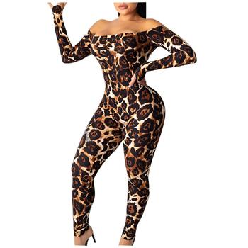 Elegant Women Jumpsuit Fashion Leopard Long Sleeve One-Word Collar Skinny Overalls Autumn Winter mono de mujer 2020 E