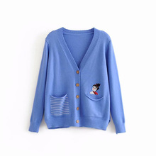 Open Stitch Sweaters Knitted Women Embroidered V-Neck Spring and Autumn Coat Long Sleeve Tops Ladies Outwear