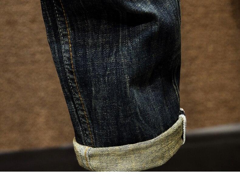 KSTUN Mens Dark Blue Jeans Pants Denim Slim Fit Elastic Casual Punk Jeans Men High Street Vintage Scratched Fashion Pockets Designer 18