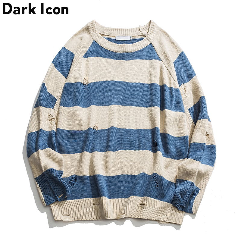 Knitted Sweater Pullover Men Streetwear-Clothes Autumn Striped Patchwork Hole Loose Dark-Icon-Hole