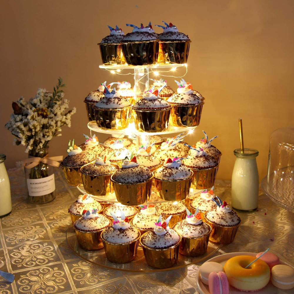 4 Tier Round Led Cake Decoration Cupcake Display Stand with LED String Lights Dessert Tree Tower for Birthday/Wedding Party