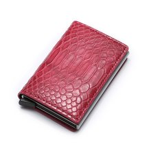 Anti Thief Rfid Blocking ID Credit Card Holder Wallet Slim Business Cash Bank Card Holder Leather Metal Wallet cardholder(China)