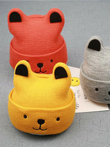 Pudcoco Hats Beanie-Hat 3d-Ears-Cap Christmas-Gift Toddler Girl Winter Baby Kids Cartoon-Bear