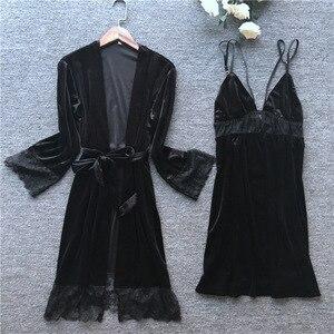 Image 4 - 2019 осенне зимние женские бархатные халаты и комплекты платьев Пижама для сна женская ночная рубашка халат + ночная рубашка с нагрудники