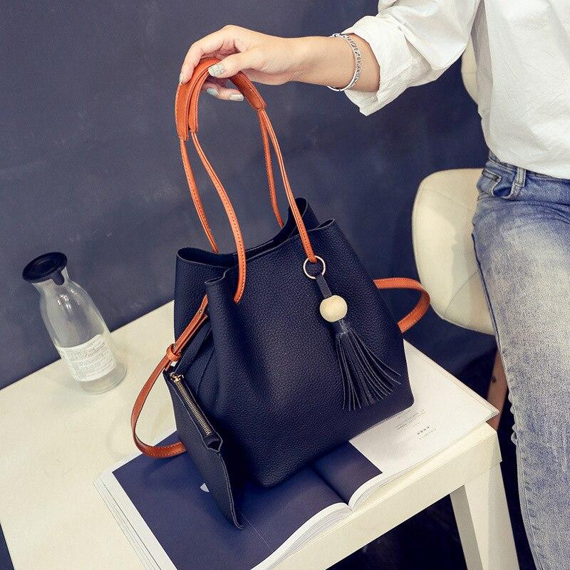 Black Leather Women Bag 2019 Luxury Handbags Women Bags Designer Shoulder Bag Women Handbag Set in Shoulder Bags from Luggage Bags