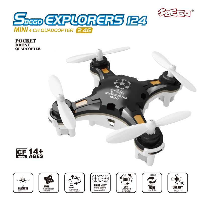 124 New Style Small Package Mini Quadcopter Remote Control Aircraft A Key Return Headless Mode Unmanned Aerial Vehicle