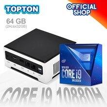 Topton mais barato i7 i9 mini pc intel core i9 10880h 9880 windows 10 pro barebone desktop computador 2 * ddr4 4k htpc minipc 2 nics