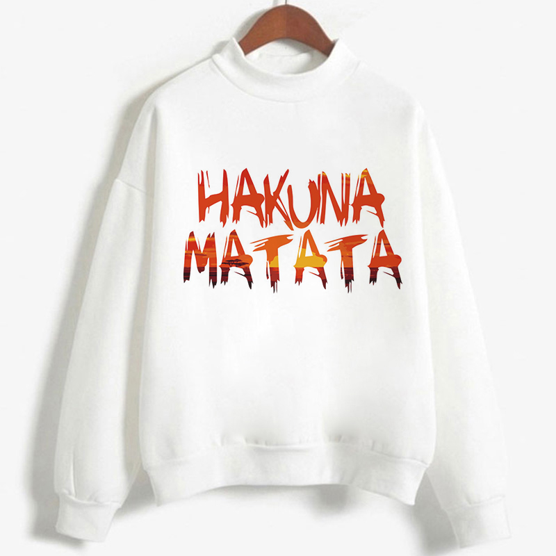 Roi Lion Sweatshirt Turtleneck Tops Pullover HAKUNA MATATA Print White Hoodies Women Casual Winter Kawaii Sweat Femme 2019