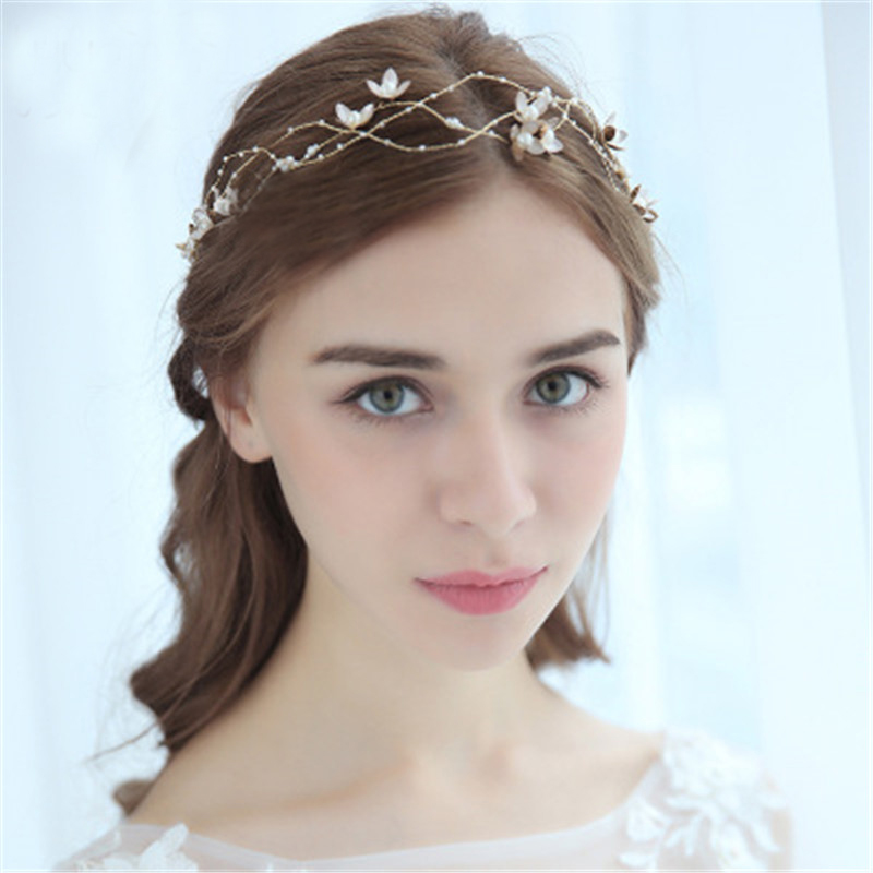Simple Wedding Headband Bridal Hair Accessories Flower Pearls Wedding Jewelry Bridal Hair Accessories Pearl Headbands for Bride