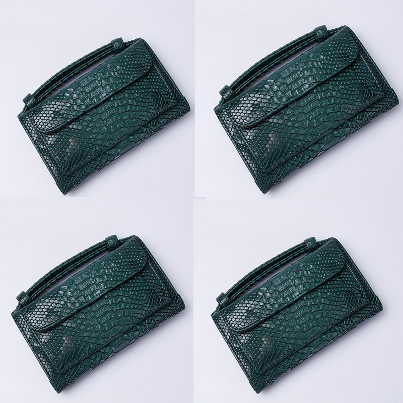 Luxury Cowhide Leather Clutch Shoulder Cross-body Bag Small Crocodile Pattern Genuine Leather Clutch Chain Women's Gift