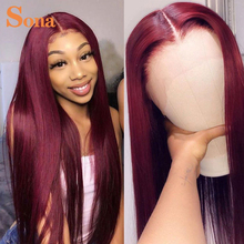 99J бразильский парик на сетке спереди, прозрачные парики на сетке спереди, бордовый, красный парик из человеческих волос для черных женщин