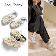 BeauToday Platform Sneakers Women Synthetic Leather Chunky Shoes Round Toe Lace-Up Fashion Ladies Trainers Handmade 29408