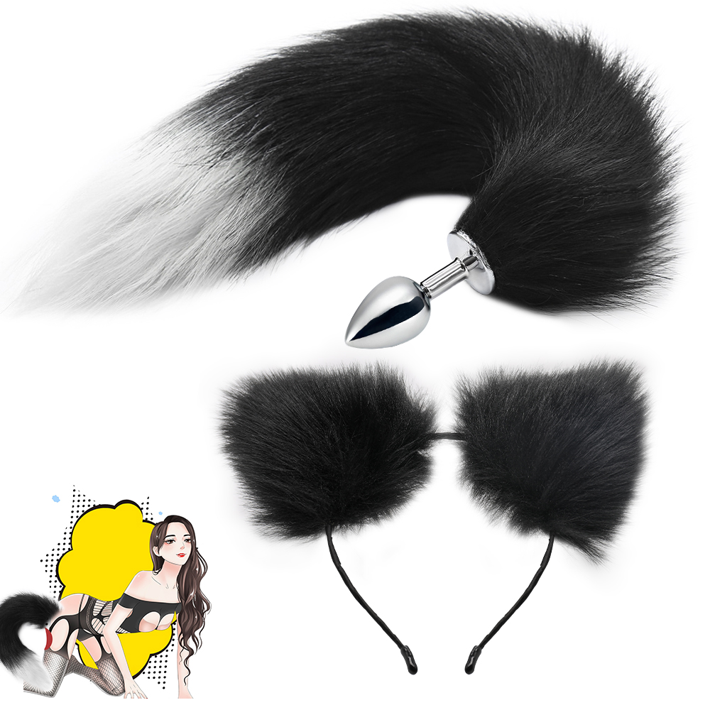 Fox Anal Tail With Cat Ear Cosplay Metal Butt Anal Plug Toys Adult Sex Toys For Women Man Couple Gay BDSM