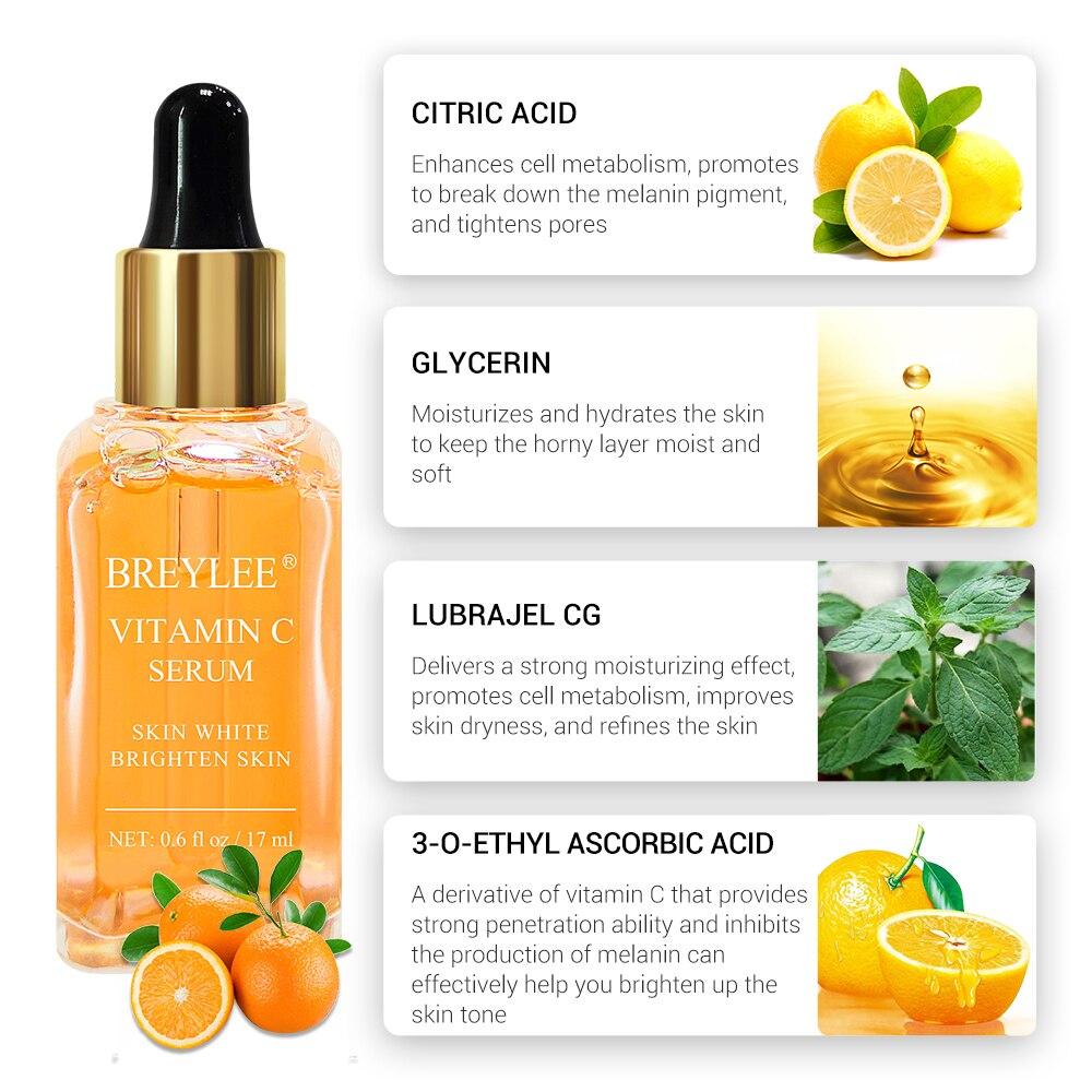 BREYLEE Facial Serum Hyaluronic Acid Moisturizing Vitamin C Whitening Rose Extract Nourishing 24K Glod Anti-Age Repairing Serum