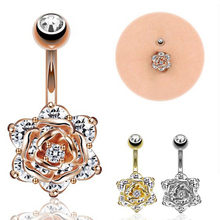 1pc Crystal Zircon Flower Dangle Navel Ring Belly Button Bar Body Piercing Jewelry(China)