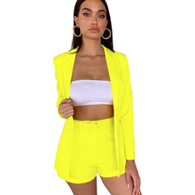 Adogirl Women Fashion Neon Color Two Pieces Set Long Sleeve Coat Turn-down Collar + Shorts with Sashes Office Lady Outfits