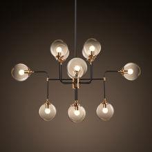 Americano retro rh e14 led lustre modo tons de vidro led pendurado iluminação lustre luxo sala estar lamparas luminárias