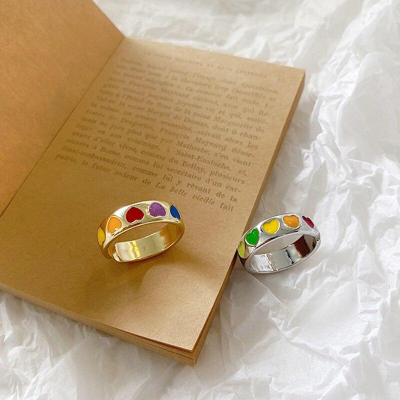 Богемского Цвет Фул открытых кольцо в форме Сердца Милые простые дизайнерские шлепанцы; Цвет золотой, серебристый, Цвет кольцо в стиле панк для женщин; Вечерние, ювелирное изделие, подарок|Кольца| | АлиЭкспресс