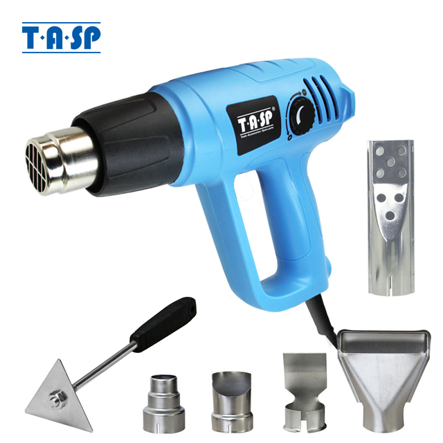 TASP 2000W Hot Air Gun Electric Heat Gun   Variable Temperature 60~600C   BBQ Lighter   5 Nozzles & Scraper Power Tools